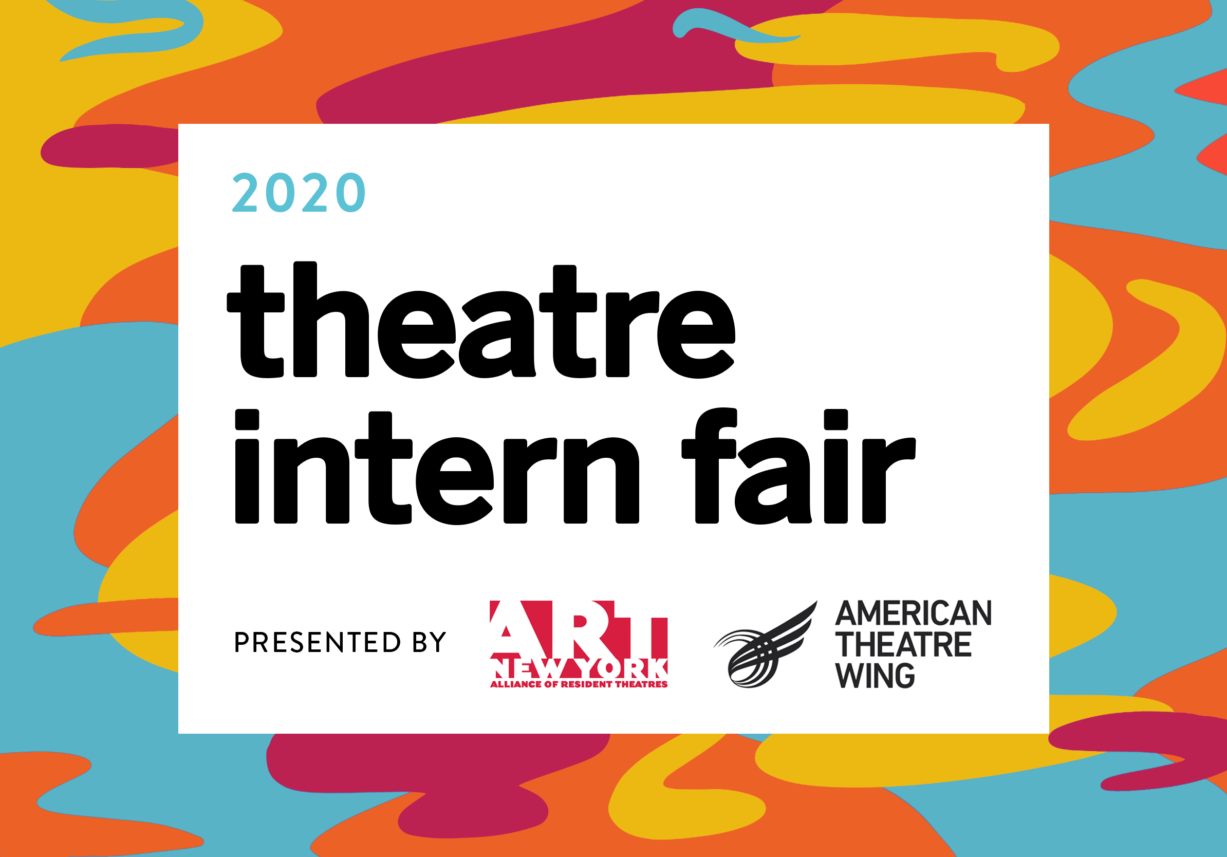 A colorful, vibrant graphic with orange, red, and yellow blobs. On top of the graphic is a box with information about the Intern Fair.