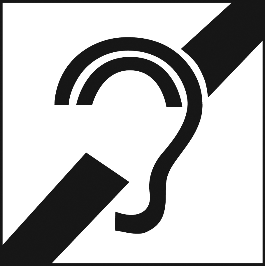 An icon for assistive listening devices, depicting an ear with a diagonal stripe behind it.