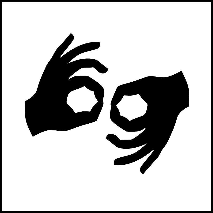 The icon for American Sign Language, which depicts two hands in motion.